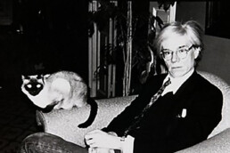 Andy Warhol sitting in a chair with a cat